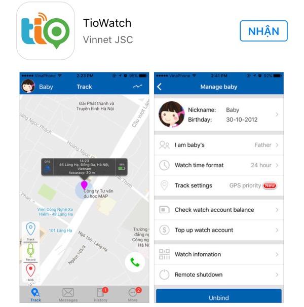 Tio được tích hợp với smartphone bằng ứng dụng TioWatch